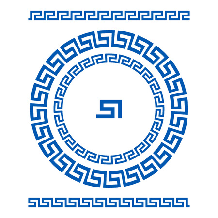 antiquities: Circle ornament meander. Round frame, rosette of ancient elements. Greek national antique round pattern, vector. Rectangular pulse. border art