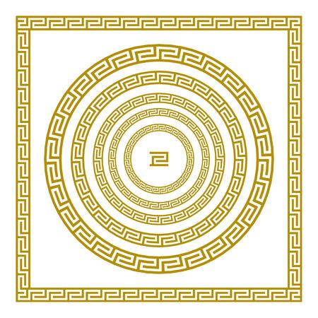 Vector set Traditional vintage golden square and round Greek ornament Meander border greece gold art