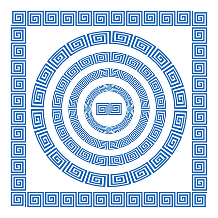 meander: Set of brushes to create the Greek Meander patterns. Greek traditional borders. Decoration elements in blue color isolated on white background. Could be used as divider, frame, etc. Vector illustration art Illustration