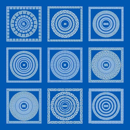 meander: Set of meander borders and frames. Ancient traditional greek decoration. greece blue color. vector art
