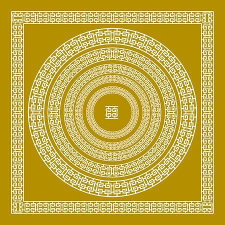 golden, ornamental, Meander circle frame in Gold greek vector art border
