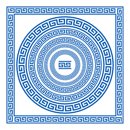 Set of vector brushes to create Greek Meander patterns and samples of their application for round and square frames. Greek borders. Blue color isolated on white background