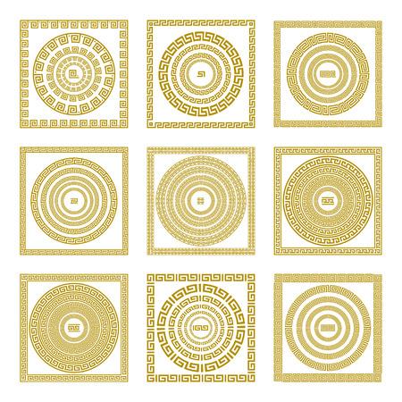 fret: Vector set Traditional vintage golden square and round Greek ornament Meander border greece gold art