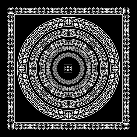 meander: Greek traditional meander border set. Vector antique frame pack. Decoration element patterns in black and white colors. Ethnic collections. Vector illustrations. art