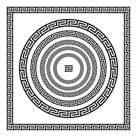 meander: border greek Round frame with a meander. Vector black and white illustration. art