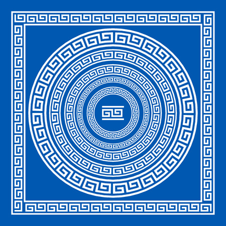 meander: Set of vector brushes to create Greek Meander patterns and samples of their application for round and square frames. Greek borders. Blue color isolated on white background