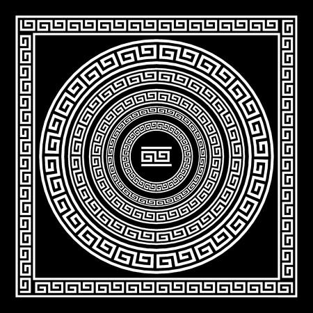 ギリシャの伝統的な蛇行ボーダー セット。アンティーク フレームのベクトル パック。黒と白の色の装飾要素パターン。民族のコレクション。ベク