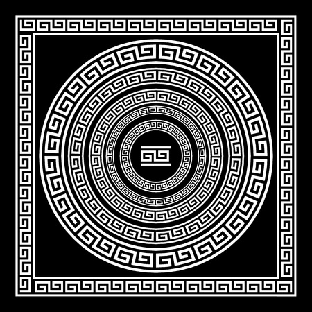 Greek traditional meander border set. Vector antique frame pack. Decoration element patterns in black and white colors. Ethnic collections. Vector illustrations. art