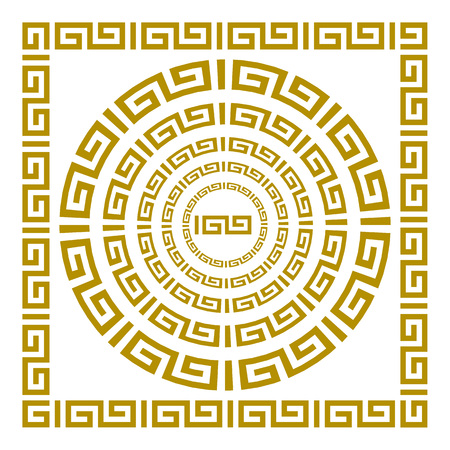 fret: Round and rectangular classical roman or greek frame vector art Illustration