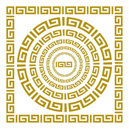 Round and rectangular classical roman or greek frame vector art Vector Illustration