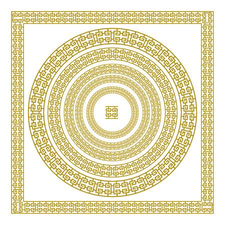 meander: golden, ornamental, Meander circle frame in Gold greek vector art border