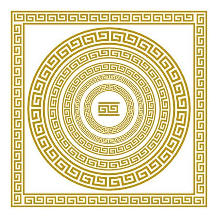 friso: Vector conjunto con friso griego de oro del ornamento de la vendimia meandro grecia
