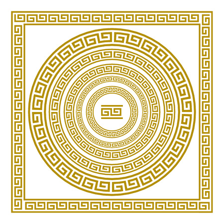 Vector set frieze with vintage golden Greek ornament Meander pattern greece Stock fotó - 63824712