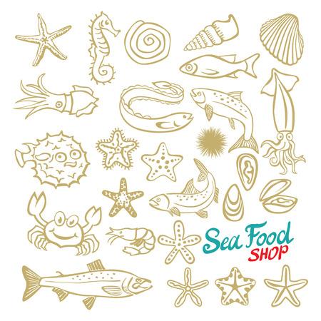 water chute: Sea set. Stingray, jellyfish, seaweed, fish, starfish, jellyfish, squid, crab, sea horse. Vector illustration. Isolated on white background. art