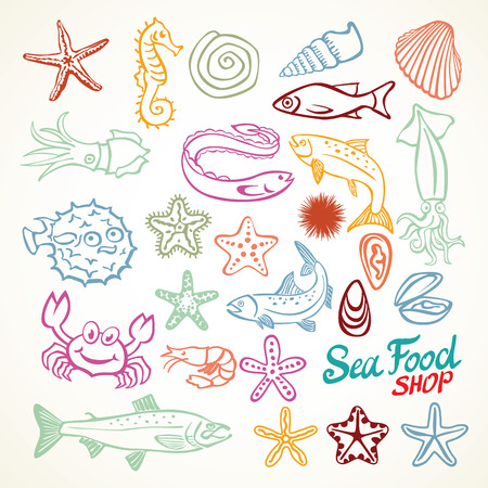 horse fish: Sea travel underwater diving animals. killer whale, starfish, pearl, butterfly fish, tropical shells, sea horse, sea turtle and more marine icons sea food vector art
