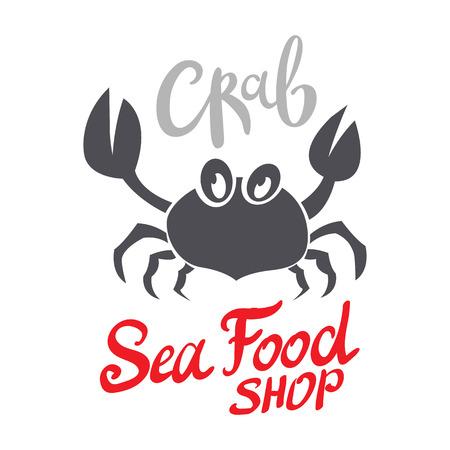 Crab silhouette. Seafood shop branding template for craft food packaging or restaurant design. Vector illustration art