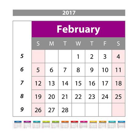 scheduler: Vector planning calendar February 2017 Monthly scheduler. Week starts on Sunday. art