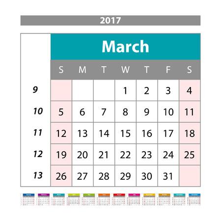 scheduler: Simple digital calendar for March 2017. Vector printable calendar. Monthly scheduler. Week starts on Sunday. English calendar art Illustration