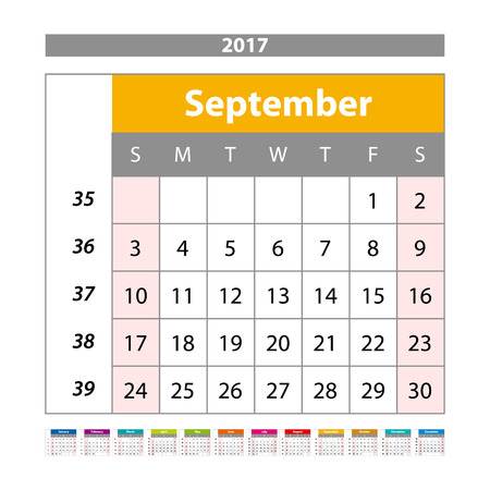 chronology: Desk Calendar for 2017 Year. September. Vector Design Print Template with Place for Photo. Week Starts Monday art