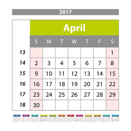 scheduler: Simple digital calendar for april 2017. Vector printable calendar. Monthly scheduler. Week starts on Sunday. English calendar art Illustration