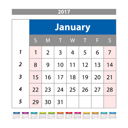 agenda year planner: Calendar Planner for 2017 Year. Design Template with Place for Photos and Notes. January. Week Starts Sunday vector art Illustration