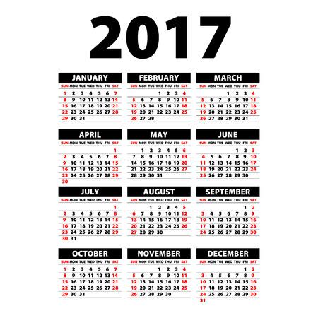 personal data assistant: 2017 Calendar Black - illustration  template of 2017 calendar art Illustration