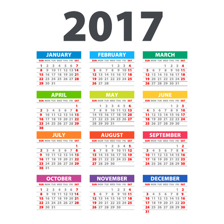 2017 Calendar - illustration template of color 2017 calendar art