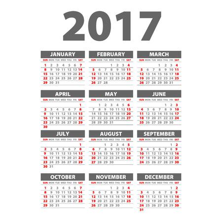 2017日历黑色 -  2017日历艺术的例证模板