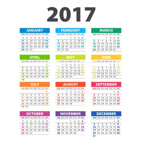 2017 カレンダー - カレンダーの色 2017 の芸術のイラスト テンプレート