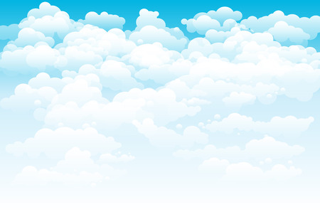 Editable illustration of light clouds in a blue sky made using a gradient art