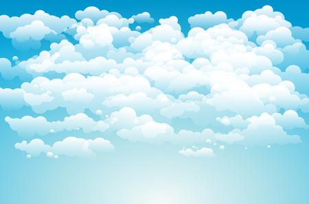 Editable vector illustration of light clouds in a blue sky made using a gradient art