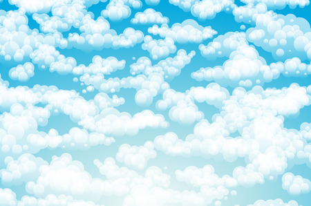 Blue sky with clouds. Vector background art