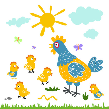 Funny vector cartoon colorfull hen and chicks isolated background art Illustration