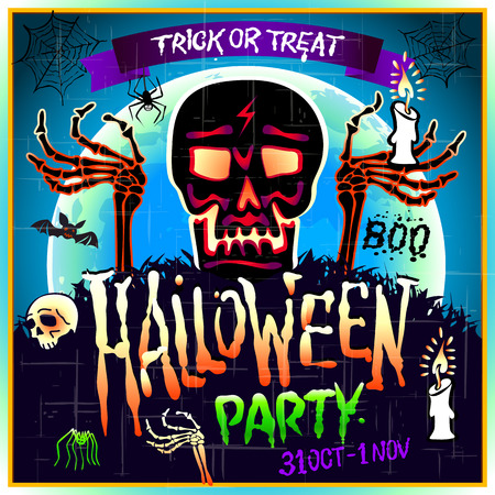 intertainment: Halloween Party Design template with skull zombie and place for text. art Illustration