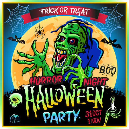 corpse: Zombie sneaks up on the background of a full moon, illustration on the theme of the halloween party. 31 october - 1 november. Horror night. trick or treat. skull, candle, spider, bats. Boo. web. Illustration
