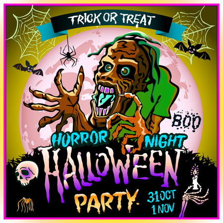 october 31: Zombie sneaks up on the background of a full moon, illustration on the theme of the halloween party. 31 october - 1 november. Horror night. trick or treat. skull, candle, spider, bats. Boo. web. art