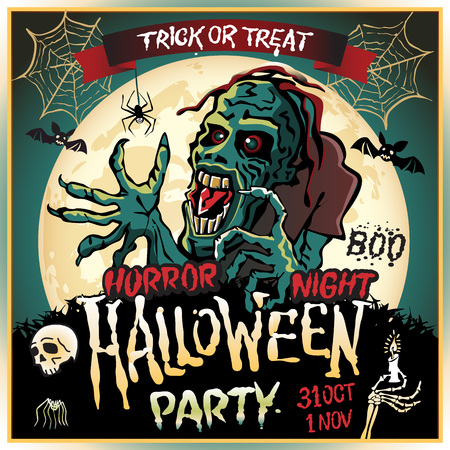 party design: Zombie sneaks up on the background of a full moon, illustration on the theme of the halloween party. 31 october - 1 november. Horror night. trick or treat. skull, candle, spider, bats. Boo. web. Illustration