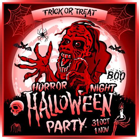 ghost town: Zombie sneaks up on the background of a full moon, illustration on the theme of the halloween party. 31 october - 1 november. Horror night. trick or treat. skull, candle, spider, bats. Boo. web. red