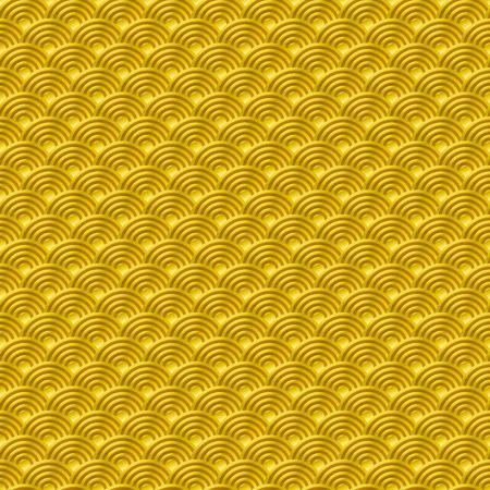 中国イエロー ゴールド シームレス パターン ドラゴン魚の鱗単純なシームレス パターン、自然の背景日本の波の円パターン ベクトル アートと韓国  イラスト・ベクター素材