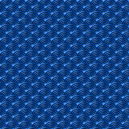 Chinoise bleue transparente poissons motif dragon échelles fond simple, seamless, modèle de la nature avec cercle vague japonaise vecteur motif art