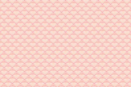 nature pattern: seamless pattern dragon fish scales simple seamless pattern Nature background with japanese wave circle pattern pastel colors on light orange pink background. Vector art Illustration