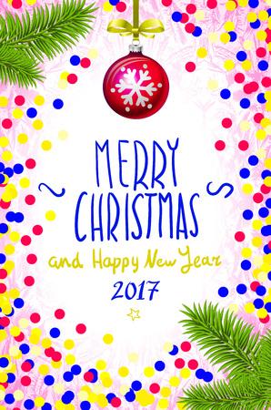 inscribed: color handwritten calligraphic inscription Merry Christmas inscribed in colorfull confetti. Design element for banner, card, invitation, label, postcard, vignette. Vector illustration.