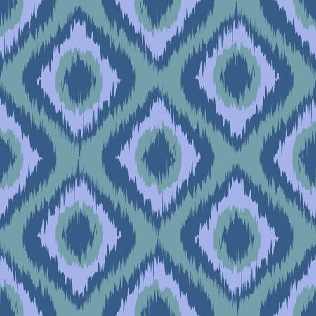seamless pattern Tribal Art Ikat Ogee in traditional classic blue and violet grey colors vector art Illustration