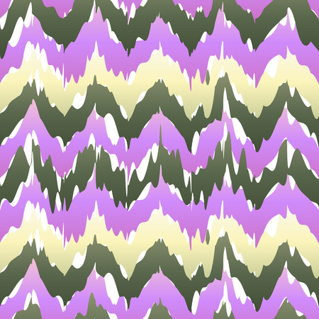 Vector seamless patter design with chevron ikat repeating ornaments. purple pink violet beige art Vettoriali