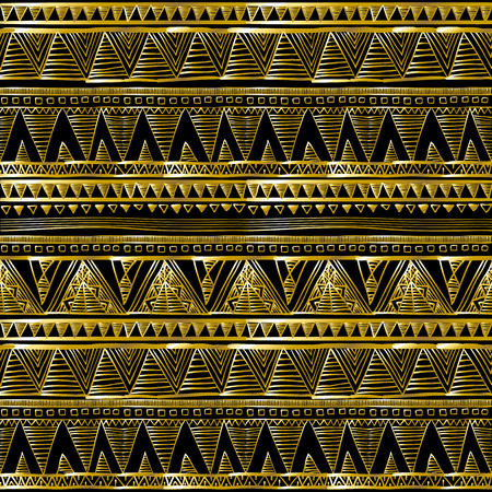 backgrouns: Gold glittering zigzag wave backgrouns. black vector Ethnic seamless art