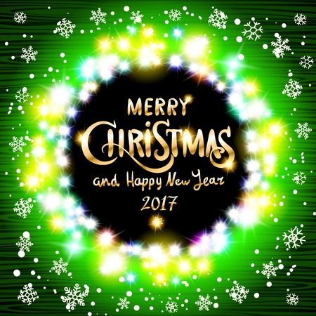 Merry Christmas and Happy New Year 2017 realistic ultra green colorful light garlands like round frame on a transparent background, vector. background Vector glittery lights green abstract Christmas background. art