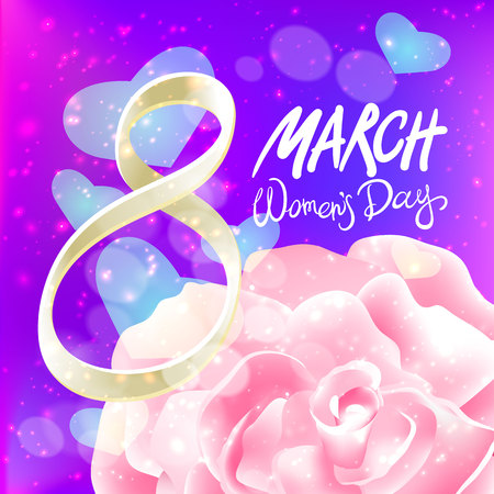 womans day: March 8 greeting card. International Womans Day. vector. pink rose. violet light background art