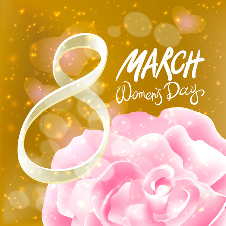 womans day: March 8 greeting card. International Womans Day. vector. red rose. light background art Illustration