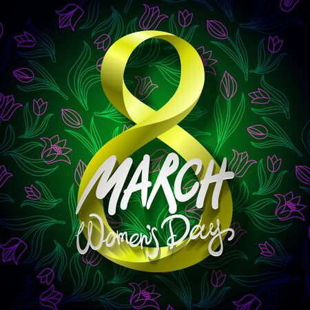 greeting cards International Women s Day: March 8 greeting card. International Womans Day. vector. black background art Hình minh hoạ