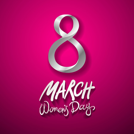 March 8 greeting card. International Womans Day. vector. pink background art